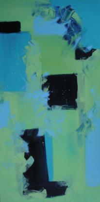 Malerei, Abstrakt, Mediterran, Triptychon