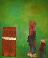 Blattgold, Verrostetes blech, Malerei, Abstrakt
