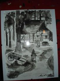 Aquarellmalerei, Fachwerk, Landschaft, Schwarz weiß