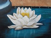 Weiß, Blau, Seerosen, Malerei