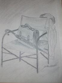 Stuhl, Schirm, Zeichnungen, Pause