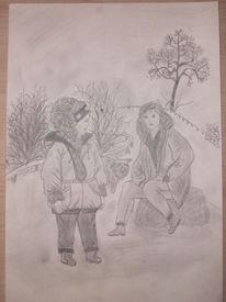 Mutter, Spaziergang, Kind, Zeichnungen