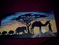 Malerei, Sonnenuntergang, Tiere