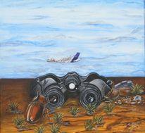 Flugzeug, Sand, Fernglas, Käfer
