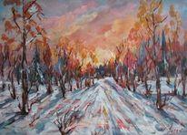Landschaft, Malerei, Abend