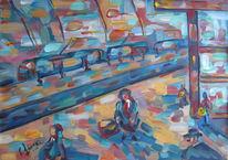 Landschaft, Malerei, Bahnhof