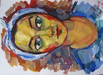 Malerei, Blau, Kopftuch