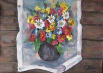 Stillleben, Malerei, Blumen, Wand