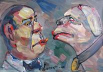 Malerei, Portrait, Doppelt,