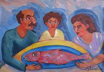 Malerei, Figural, Rot, Fisch