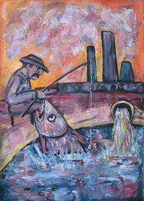 Surreal, Malerei, Fisch, Fischer