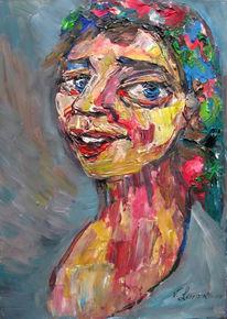 Malerei, Menschen, Kopftuch, Frau