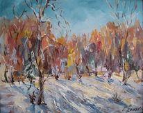 Landschaft, Malerei, Frost, Sonne