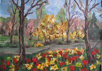 Landschaft, Malerei, Park, Frühling