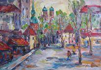 Malerei, Frühling, Stadt