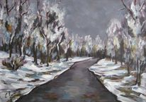 Landschaft, Malerei, Tag, Grau