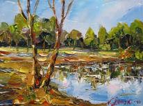 Landschaft, Malerei, Grün, Ecke