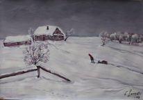 Landschaft, Malerei, Heimkehr