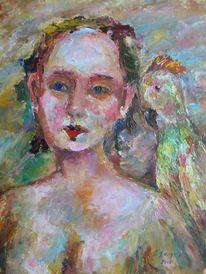 Malerei, Menschen, Mädchen, Papagei