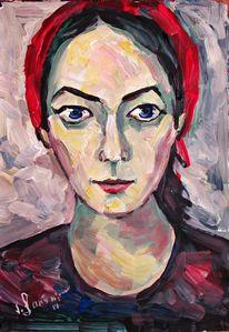 Malerei, Rot, Kopftuch, Mädchen