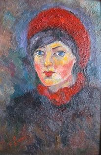 Malerei, Menschen, Rot, Mädchen