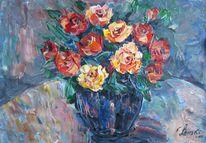 Malerei, Stillleben, Blau, Vase