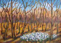 Landschaft, Malerei, Schneeglöckchen