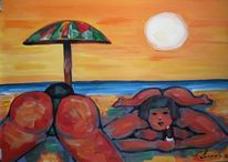 Malerei, Figural, Strand