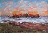 Landschaft, Malerei, Untergang