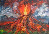 Landschaft, Malerei, Vulkan