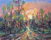 Landschaft, Malerei, Waldweg