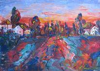 Landschaft, Malerei, Abend, Warm
