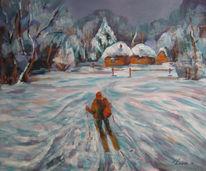 Malerei, Winterlich, Spaziergang