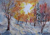 Landschaft, Malerei, Wintersonne
