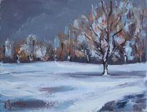 Landschaft, Malerei, Wintertag