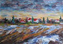 Malerei, Frühling, Winter