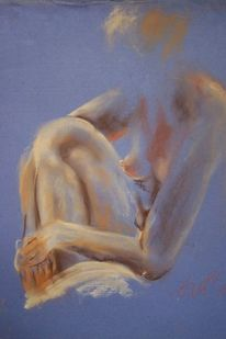 Akt, Hintergrundfarbe, Masse, Pastellmalerei