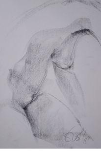 Pittkreide, Akt, Zeichnung, Torso