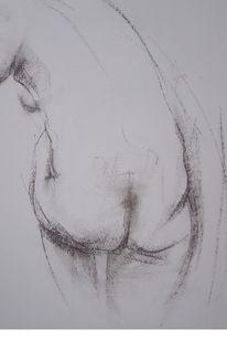 Pittkreide, Rückenakt, Akt, Zeichnung