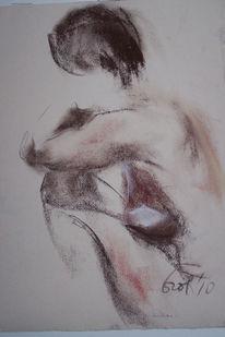 Sitzen, Realismus, Pittkreide, Zeichnung