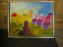 Haus, Katze, Malerei, Tiere