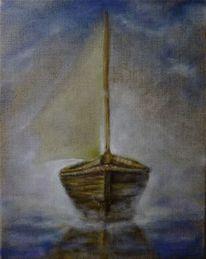 Boot, Artep gnitlon, Wasser, Nebel