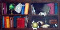 Flusspferd, Vase, Apfel, Regal