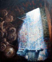 Schatten, Treppe, Ölmalerei, Mann