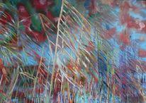 Ölmalerei, Rot, Wasser, Blau