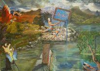 Leben, Sehnsucht, Acrylmalerei, Wasserlauf
