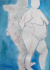 Gouachemalerei, Acrylmalerei, Akt, Grau