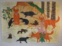 Collage, Fuchs, Scherenschnitt, Buntstiftzeichnung