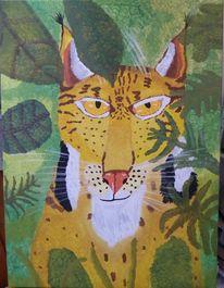 Luchs, Acrylmalerei, Tiere, Tupftechnik