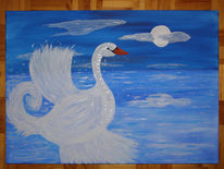 Vollmond, Schwanensee, Acrylmalerei, Malerei